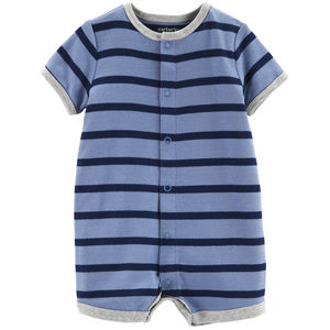 Baby Boy Sailboat Snap Up Romper Blue Cotton